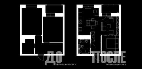 1K Apartment  plan before and after