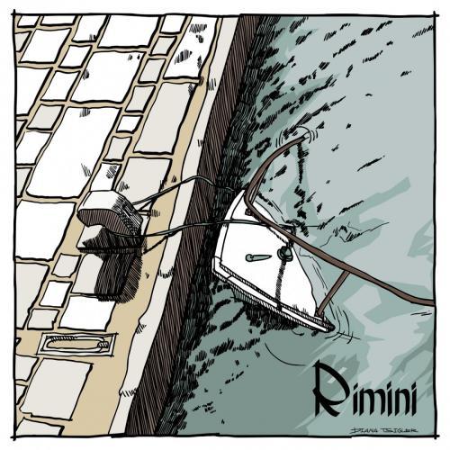 Rimini boat postcard sketch